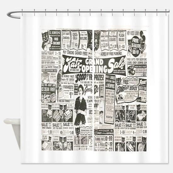 Vintage News Shower Curtain