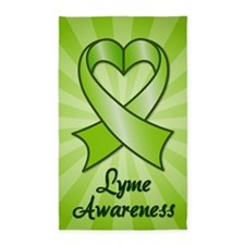 Lyme Disease Awareness Heart Ribbon Area Rug