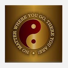 Yin Yang (Gold-Maroon) Tile Coaster