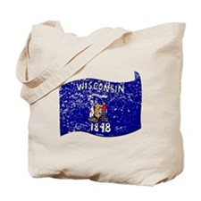 Wisconsin State Flag (Distressed) Tote Bag