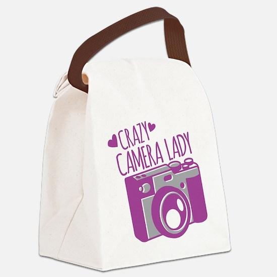 Crazy Camera Lady Canvas Lunch Bag
