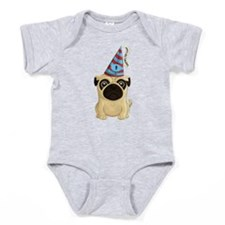 Happy 1st Birthday Pug Baby Bodysuit