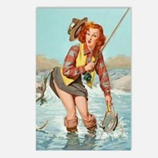 pinup fishing ! Postcards (Package of 8)