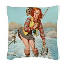 pinup fishing ! Woven Throw Pillow