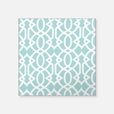 "Aqua Sky & White Trellis Square Sticker 3"" x 3"""