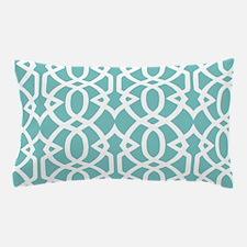 Aqua Sky & White Trellis Pillow Case