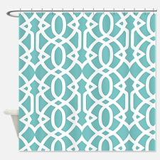 Aqua Sky & White Trellis Shower Curtain