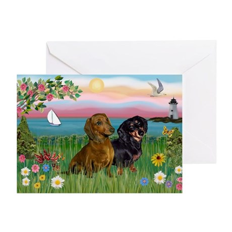 Shore & Dachshund Pair Greeting Cards (Package of