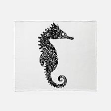 Distressed Seahorse Silhouette Throw Blanket