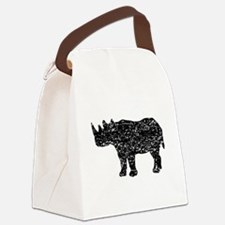 Distressed Rhinoceros Silhouette Canvas Lunch Bag