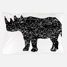 Distressed Rhinoceros Silhouette Pillow Case