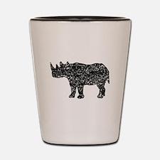 Distressed Rhinoceros Silhouette Shot Glass
