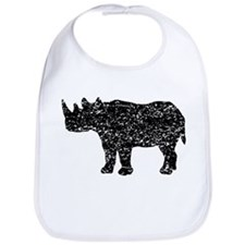 Distressed Rhinoceros Silhouette Bib