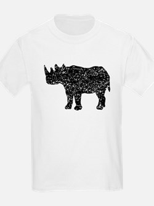 Distressed Rhinoceros Silhouette T-Shirt
