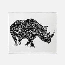 Distressed Rhino Silhouette Throw Blanket
