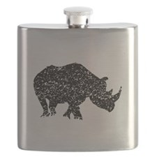 Distressed Rhino Silhouette Flask