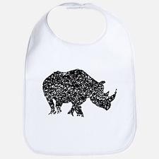 Distressed Rhino Silhouette Bib