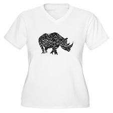 Distressed Rhino Silhouette Plus Size T-Shirt