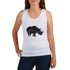 Distressed Rhino Silhouette Tank Top