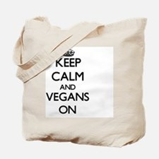 Keep Calm and Vegans ON Tote Bag
