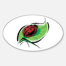 Ladybug on a Leaf Oval Decal