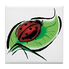 Ladybug on a Leaf Tile Coaster
