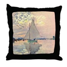 Sailing Ship by Monet Throw Pillow