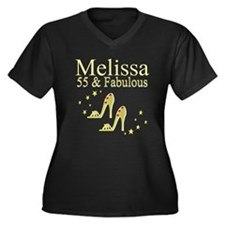 DAZZLING 55T Women's Plus Size V-Neck Dark T-Shirt