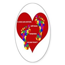 Footprints on your heart 2 Oval Decal