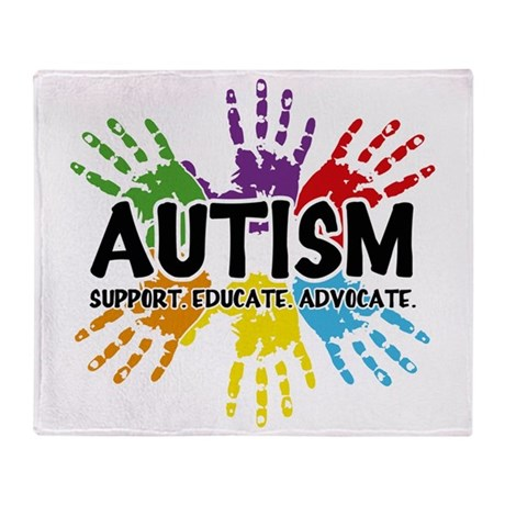Autism Support Educate Advocate Throw Blanket By