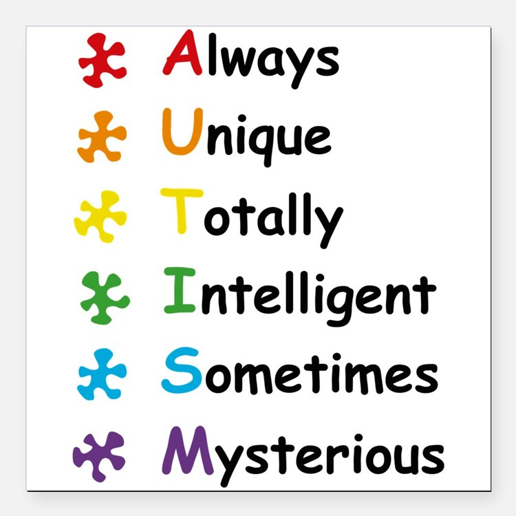 "Autism Facts Square Car Magnet 3"" x 3"""