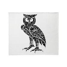 Distressed Owl Silhouette Throw Blanket