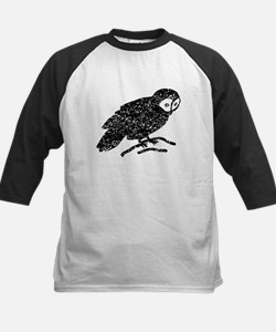 Distressed Owl Silhouette Baseball Jersey