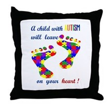 Footprints on your heart Throw Pillow