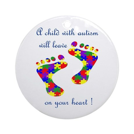 Footprints on your heart Ornament (Round)