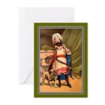 GIRL WITH PUG Greeting Cards (Pk of 20)