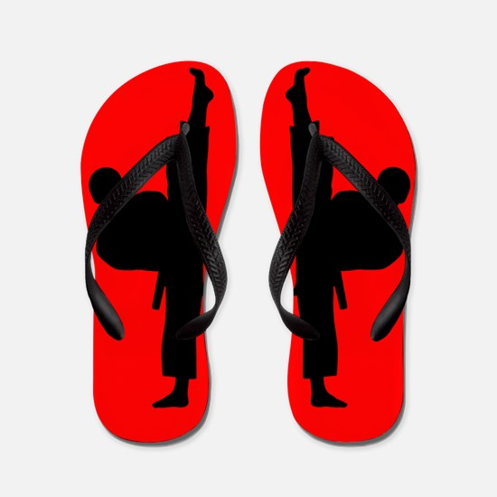 Martial Arts Mens Red Black Flip Flops