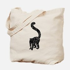 Distressed Lemur Silhouette Tote Bag
