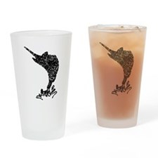 Distressed Marlin Silhouette Drinking Glass