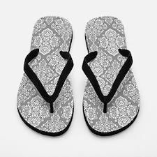 Beautiful Trendy Grey Demask pattern Flip Flops