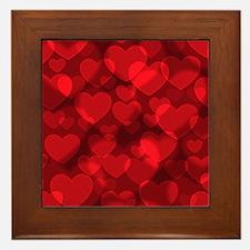 Red Heart Bokeh Framed Tile