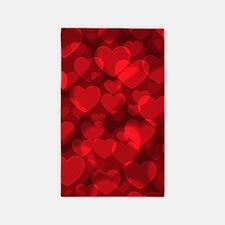 Red Heart Bokeh Area Rug
