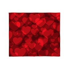 Red Heart Bokeh Throw Blanket
