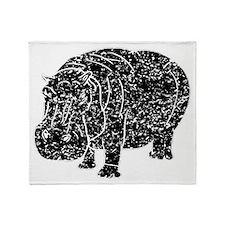 Distressed Hippopotamus Silhouette Throw Blanket