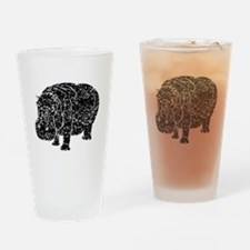 Distressed Hippopotamus Silhouette Drinking Glass