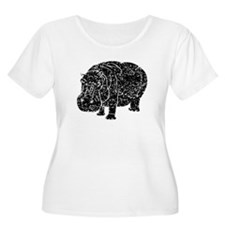 Distressed Hippopotamus Silhouette Plus Size T-Shi