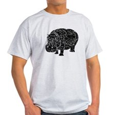 Distressed Hippopotamus Silhouette T-Shirt