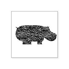 Distressed Hippopotamus Silhouette Sticker