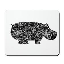 Distressed Hippopotamus Silhouette Mousepad