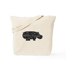 Distressed Hippopotamus Silhouette Tote Bag